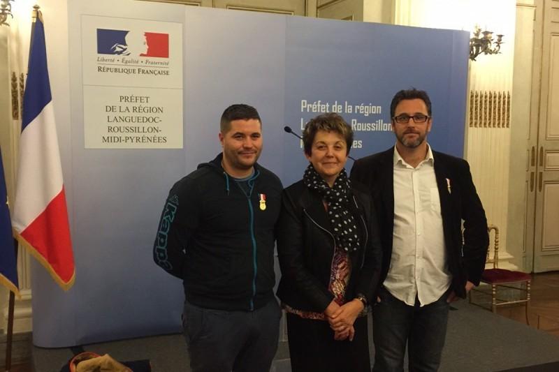 De g à d : Raphaël Dromard , Maryse Vezat maire de Rieux et Christian Souillé