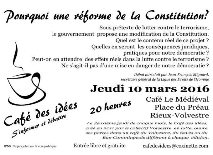 Le café des idées du sud toulousain : A quoi servira la réforme de la Constitution?