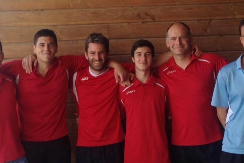 de g. à d. Christophe DENILLE, Joël GOUZE (cap.), Marc SALAVIN, Simon VIGNES, Frédéric PORTET, Axel LEFRANC. (crédit photos USR Tennis)