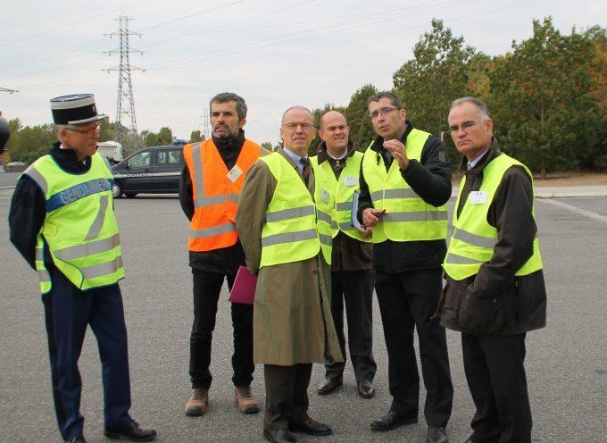 Opération de contrôle dans les transports routiers au péage de Muret.