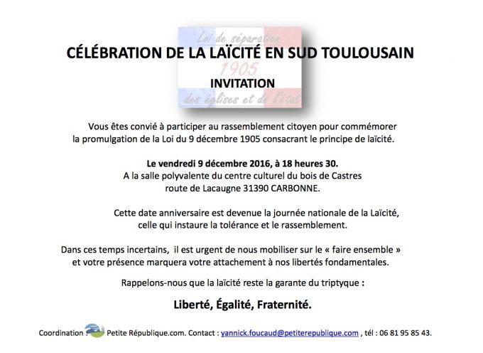 Venez participer au rassemblement de Carbonne en faveur de la laïcité!