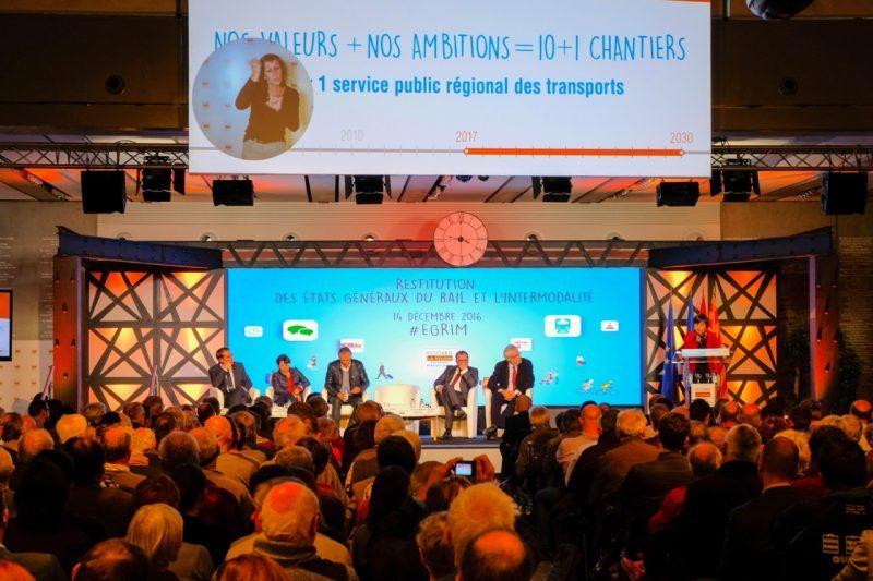 La restitution des états généraux du rail et de l'intermodalité à l'hôtel de région à Toulouse.