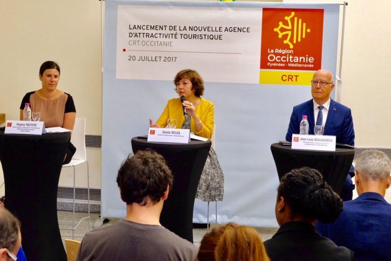 La présidente Carole Delga durant son exposé sur la création du CRT Occitanie