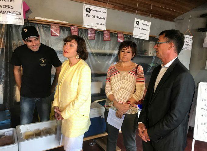 Carole Delga en visite à « La ruche qui dit oui » à Saint-Gaudens.