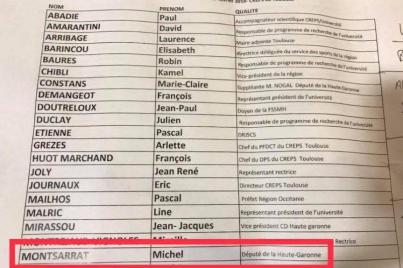 L'invitation protocolaire de Michel Montsarrat à titre de député de la Haute Garonne