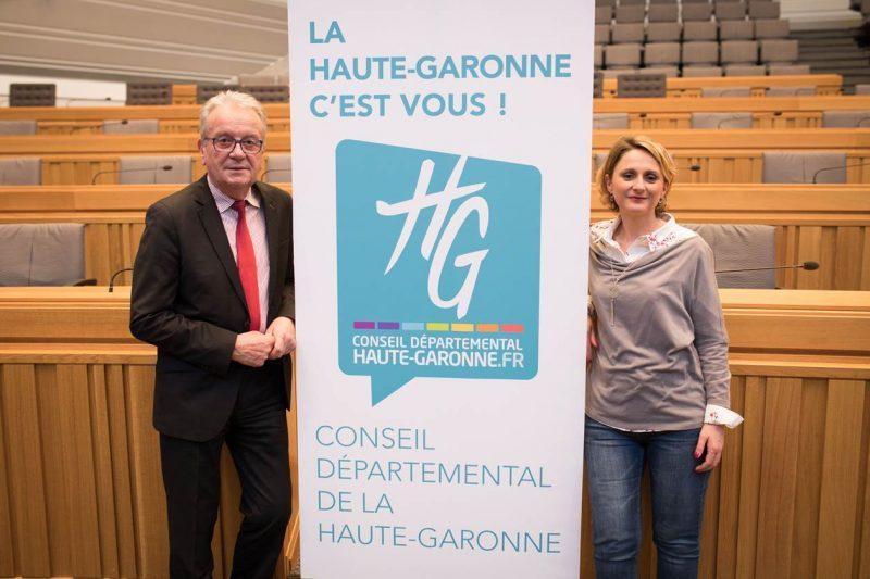 Les conseillers départementaux Sandrine Baylac et Christian Sans