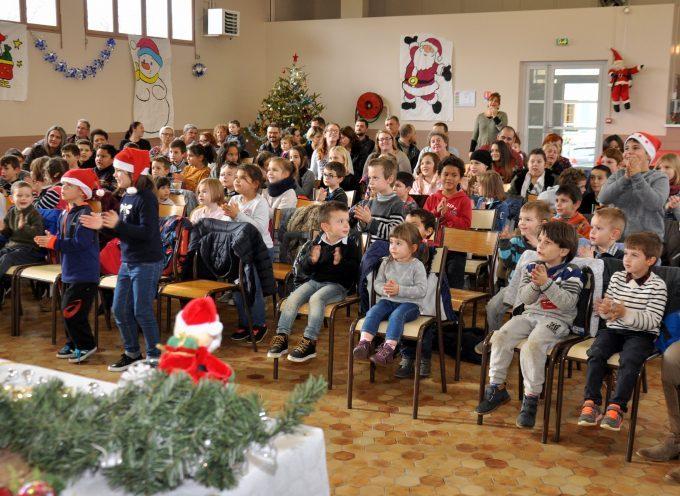 Le Père Noël au RPI de Lodes, le Cuing et Larroque