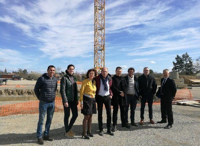 Carole Delga a visité le chantier du futur lycée de Cazères