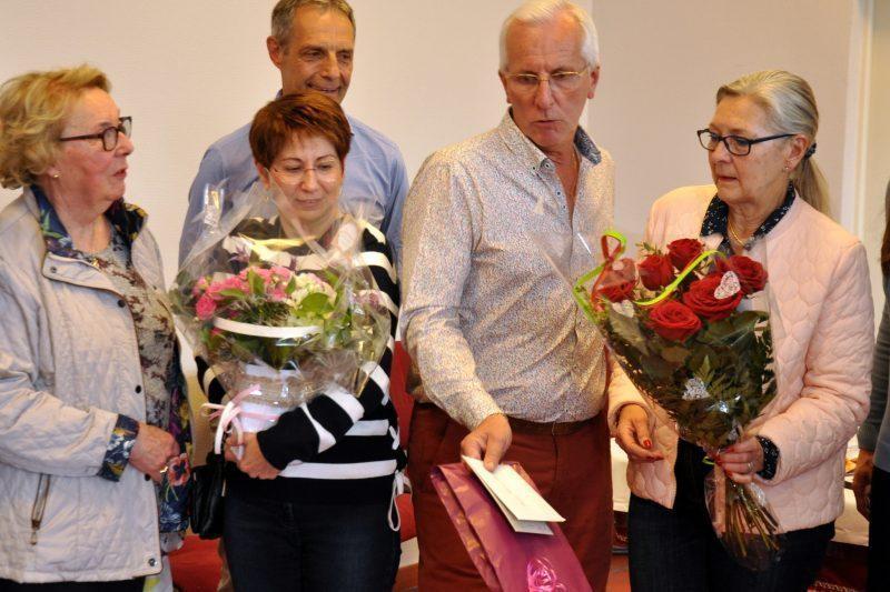Mme Arnaud, Pierrette et Francis et Mme Rival. Au second plan Serge Colla adjoint à la mairie