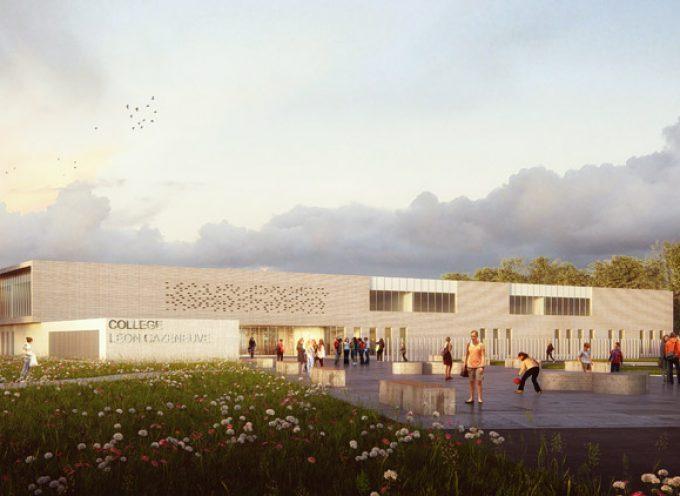 Pose de la première pierre du futur collège de l'Isle en Dodon