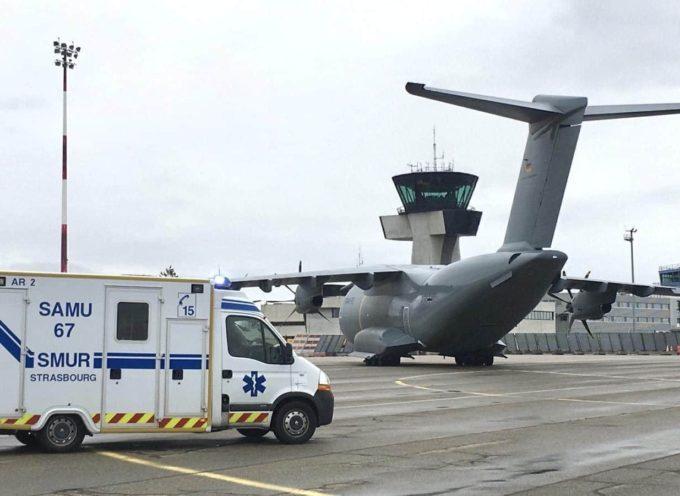 Arrivée de patients Covis-19 en provenance du Grand Est à Toulouse Blagnac