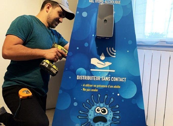 A Cazères, une start-up propose une borne distributrice de gel hydro-alcoolique sans contact