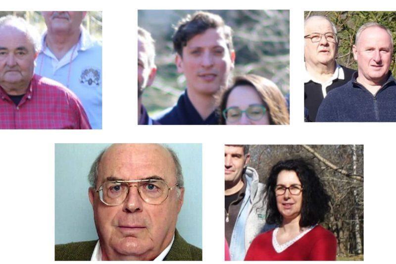 De gauche à droite : Les 5 candidats au second tour :François Raoul, Roland Schuster, Stéphane Rieu-Patey, Jean-Claude Sans et Séverine Campy.