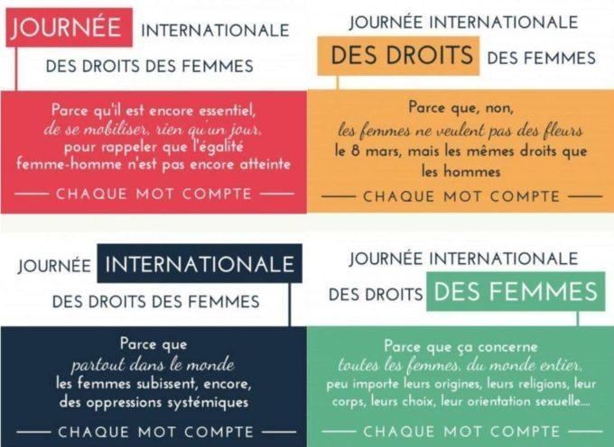 Lundi 8 mars, journée internationale des femmes