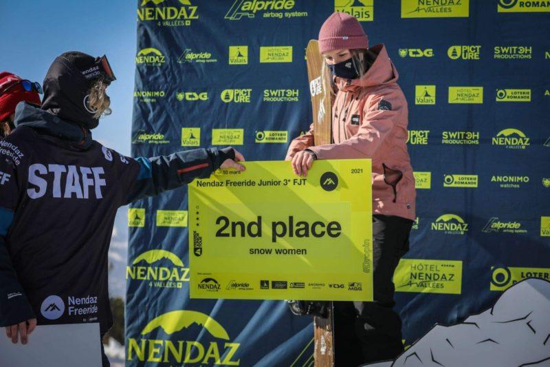 Lou Soncourt 2ième du Freeride Junior Tour à Nendaz en Suisse