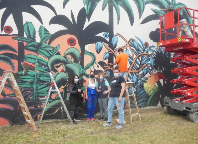 Saint-Gaudens : Un immense Graff décore le mur du gymnase du Collège Didier Daurat
